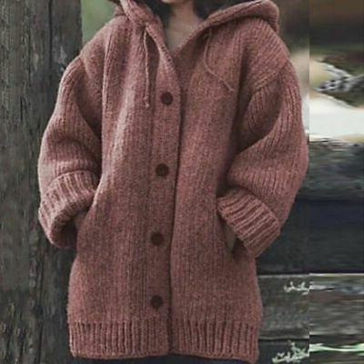 Plus Size Women Hooded Knitted Cardigans Winter Coat Jacket