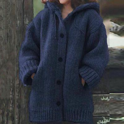 Plus Hooded Knitted Jumper Winter Warm