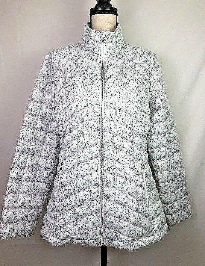 ZeroXposur Quilted Jacket Women White Pink Gray Pattern M
