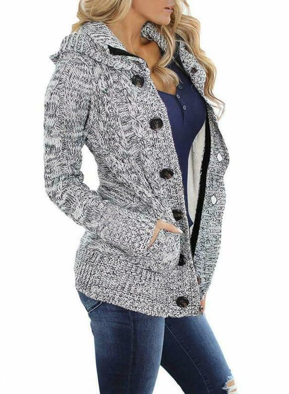 Sidefeel Women Hooded Cardigans Coat