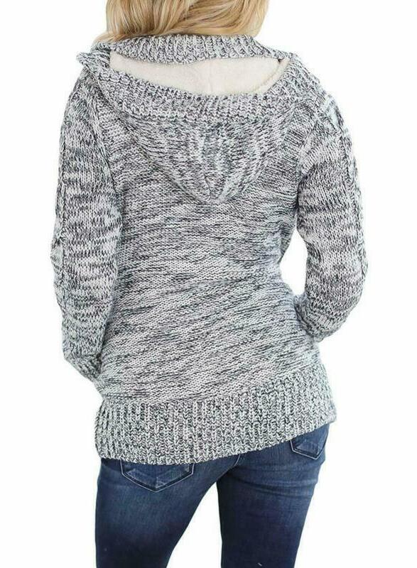 Sidefeel Women Hooded Knit Cardigans Cable Coat