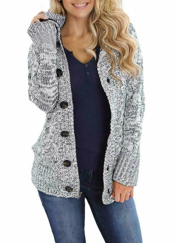sidefeel women hooded knit cardigans button cable