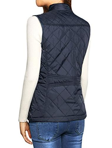 Allegra K Collar Gilet Quilted Zip Vest Blue Large