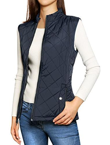 stand collar lightweight gilet quilted
