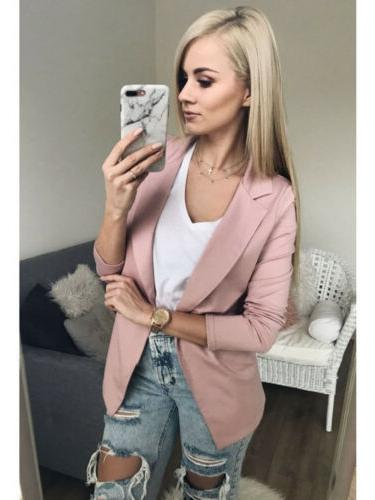 US Long Cardigan Casual Suit Top Jacket Outwear