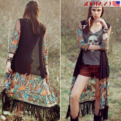 US Long Sleeve Floral Tassel Cardigan Chiffon Jacket Top