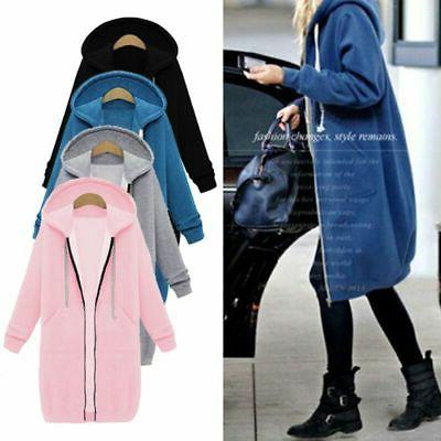 US Warm Zipper Hoodie Sweater Hooded Long Jacket Sweatshirt Coat Plus Size