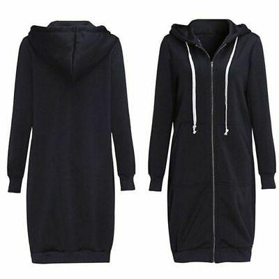 US Women Hoodie Sweater Hooded Long Jacket Size