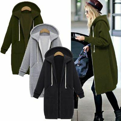US Warm Zipper Jacket Coat Plus Size