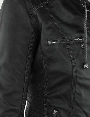 Made By Johnny Womens Hoodie Motorcyle Jacket M Black