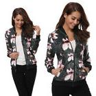 Women Floral Printed Zip Fly Bomber Jacket Fashion Stand Col