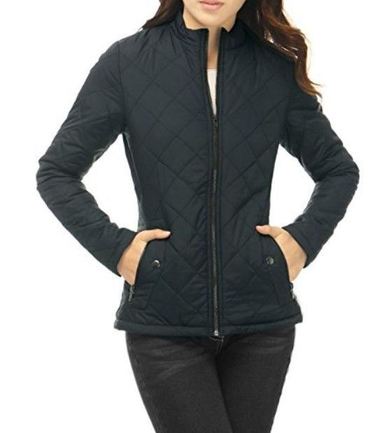 Allegra K Women Long Sleeve Quilted Jacket, Black, Size M, N