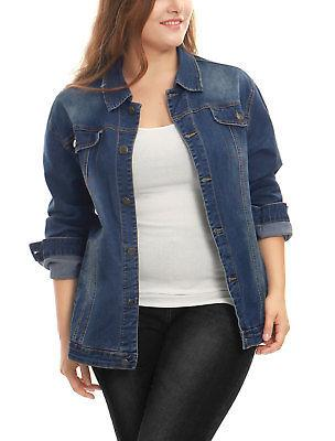 women plus size stitching button front washed