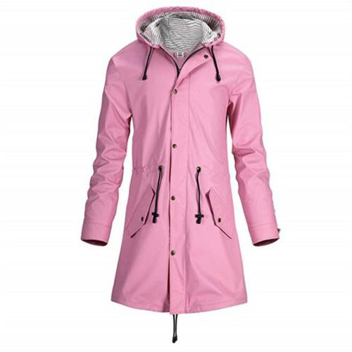 women pu raincoat with hood lightweight waterproof