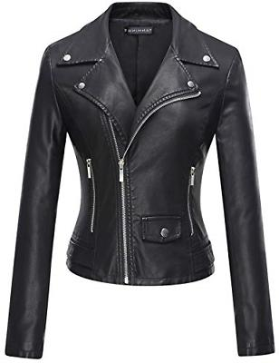 Tanming Women's Casual Motorcycle PU Faux Jacket Coat