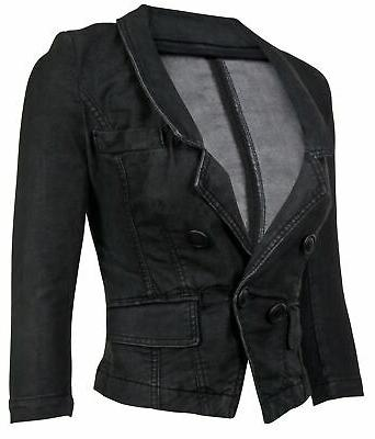 Women's Long Denim Blazer Jacket