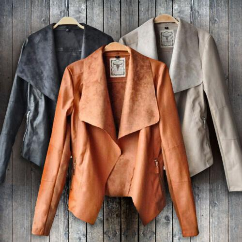 Women's Ladies Leather Jacket Coats Winter Biker Casual Flig
