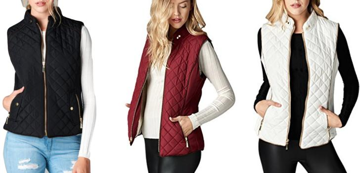 women s lightweight quilted padding vest top