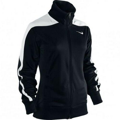 Nike Women's Mystifi Warm Up Jacket Zip Up Black/White 100%