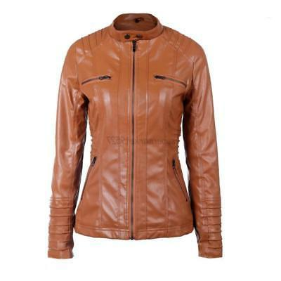 Ladies Biker Outwear Pu Hooded Jacket