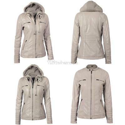 Ladies Overcoat Biker Pu Leather Hooded Parka
