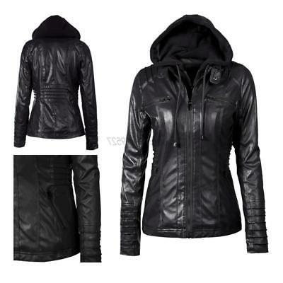 Ladies Overcoat Trench Bomber Biker Outwear Pu Leather Hoode