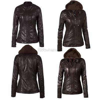 Biker Outwear Pu Hooded