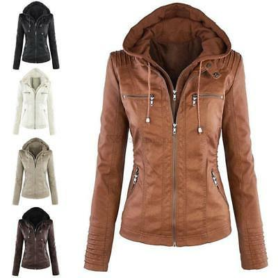 women s pu leather hooded jacket parka