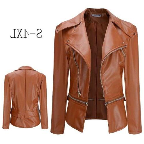 Women's Slim Motorcycle Biker Winter Casual Parka