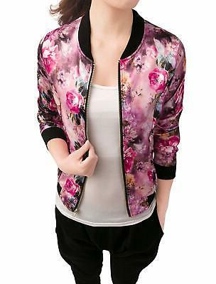 women s stand collar zip up floral