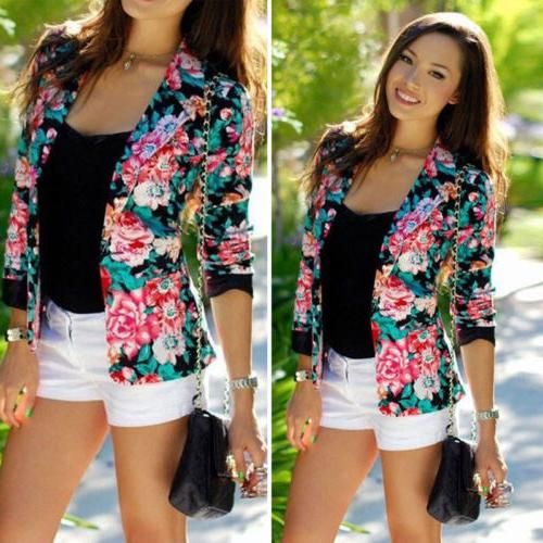 Women OL Casual Blazer Jacket Tops Sleeve Plus