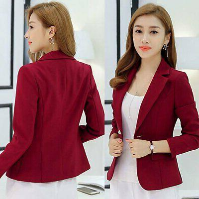 Women Slim Solid Button Business Jacket Coat Outwear Tops Hot