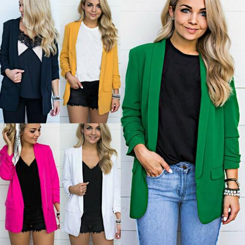 women solid casual long sleeve blazer jacket