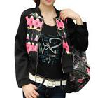 Women Stand Collar Long Sleeves Floral Pattern Cropped Jacke
