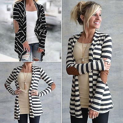 Women Striped Coat Sleeve Loose Sweater Jacket