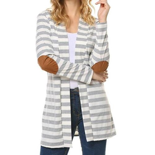 Women Striped Long Coat Long Sleeve Loose Sweater Jacket GW