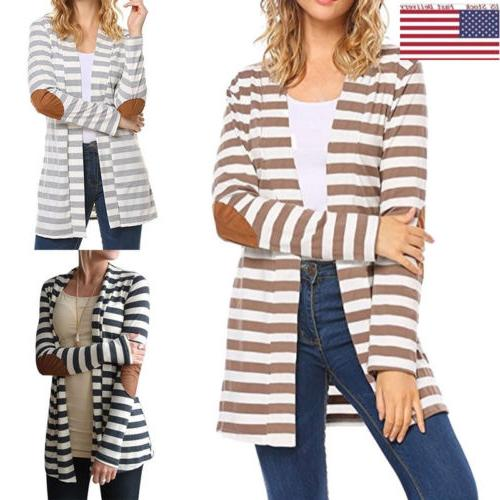 women striped long cardigan coat long sleeve