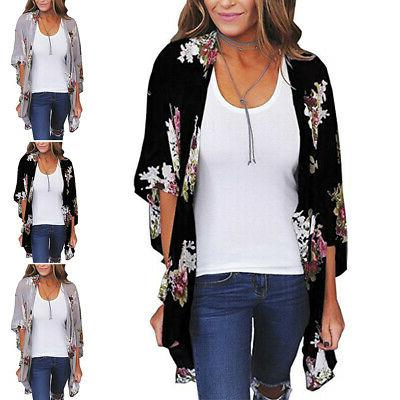 Women Floral Loose Shawl Kimono Cardigan Top Blouse US