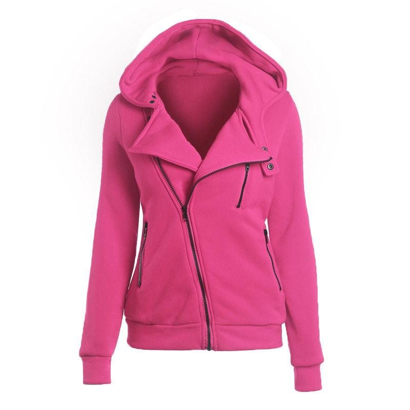 Women Zipper up Jumper Pullover Coat Jacket Hoodie Sweatshirt