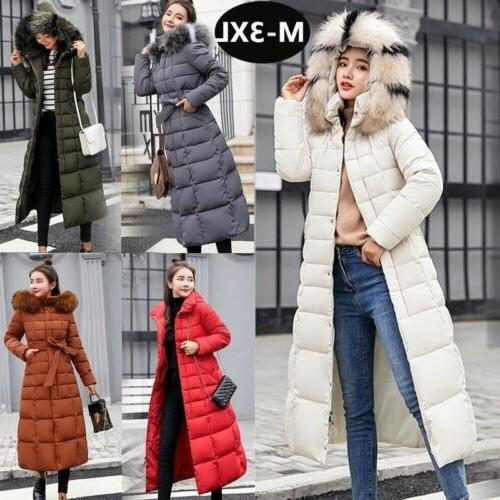 Womens Down Jacket Winter Hooded Long Fur Collar Thicken Coa