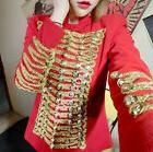 Womens Euro stand collar Coat Double stage Breasted DJ Club