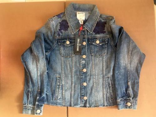womens floral embroidery denim jacket new size