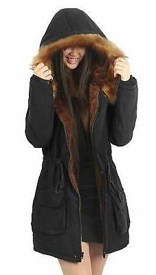 iloveSIA Womens Hooded Coat Faux Fur Lined Jacket Black 10,