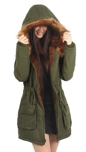 iloveSIA Womens Hooded Coat Faux Fur Lined Jacket Army Green