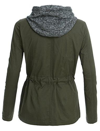 LE3NO Womens Lightweight Military Anorak with Fleece Hoodie