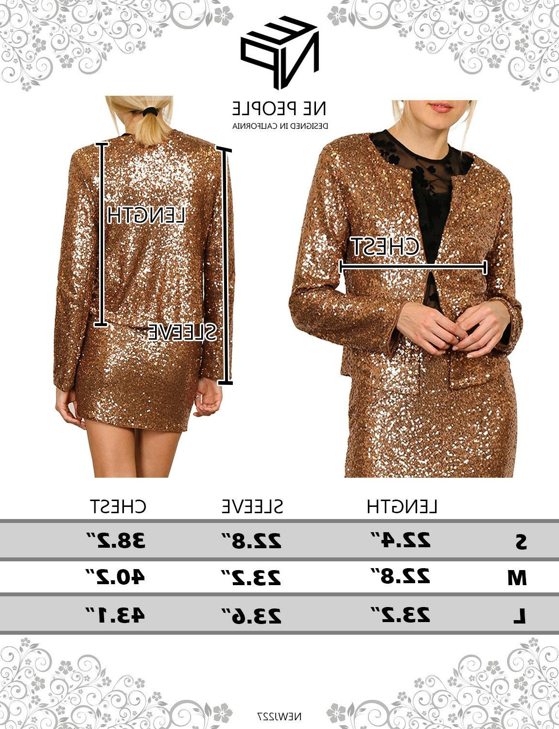 NE Womens Sequin Long Blazer