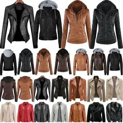 Ladies Faux Leather Hooded Jacket Women Biker Jackets Coat S