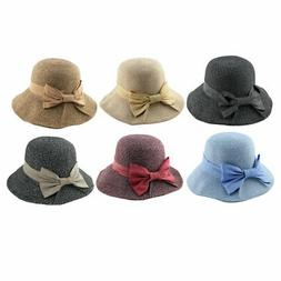 Ladies Women Straw Bowknot Decor Foldable Floppy Wide Brim S