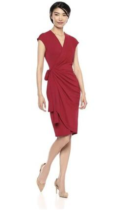 Lark & Ro Women's Classic Cap Sleeve Wrap Dress, Scarlet Red