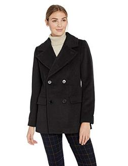 Lark & Ro Women's Double Breasted Peacoat, black, 16